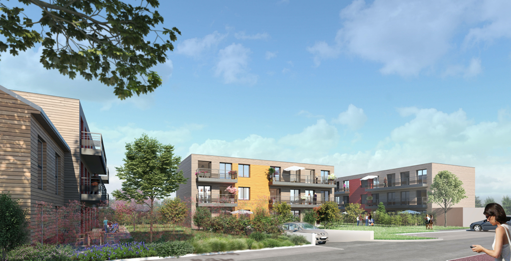 Vue d'une résidence utilisant le concept bois-soleil