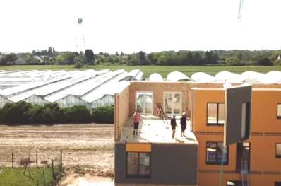 Vue aérienne du chantier d'un bâtiment sans toit