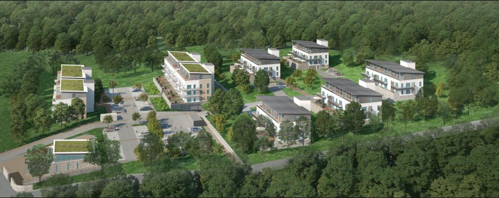 Vue aérienne de 8 bâtiments dans une forêt