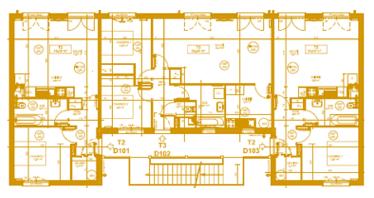 Troisième plan d'un bâtiment utilisant le concept Bois-soleil
