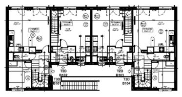 Quatrième plan d'un bâtiment utilisant le concept Bois-soleil